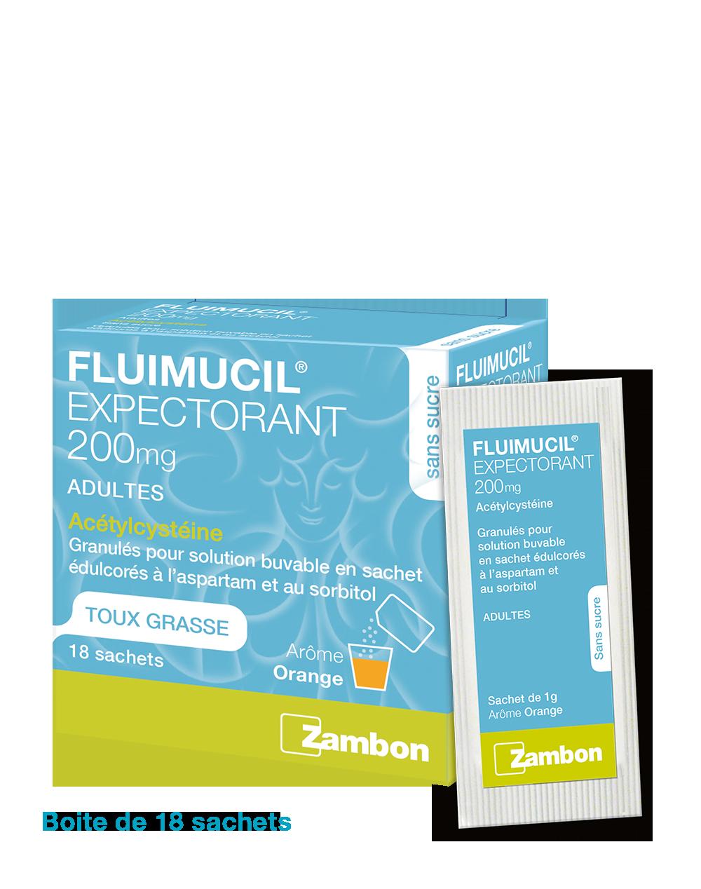 Paquet de Fluimucil 200 mg adultes en sachets